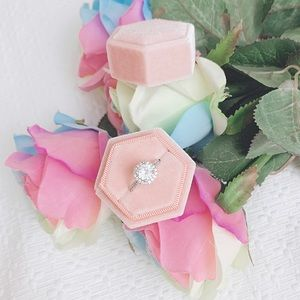 BNIB pink hexagon velvet ring box ring bearer